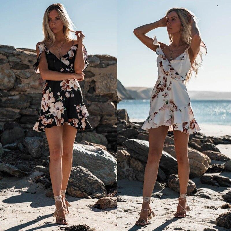 2018 mujeres vestido Floral Boho chifón verano fiesta playa corto Mini vestido de hombro Sexy señoras vacaciones