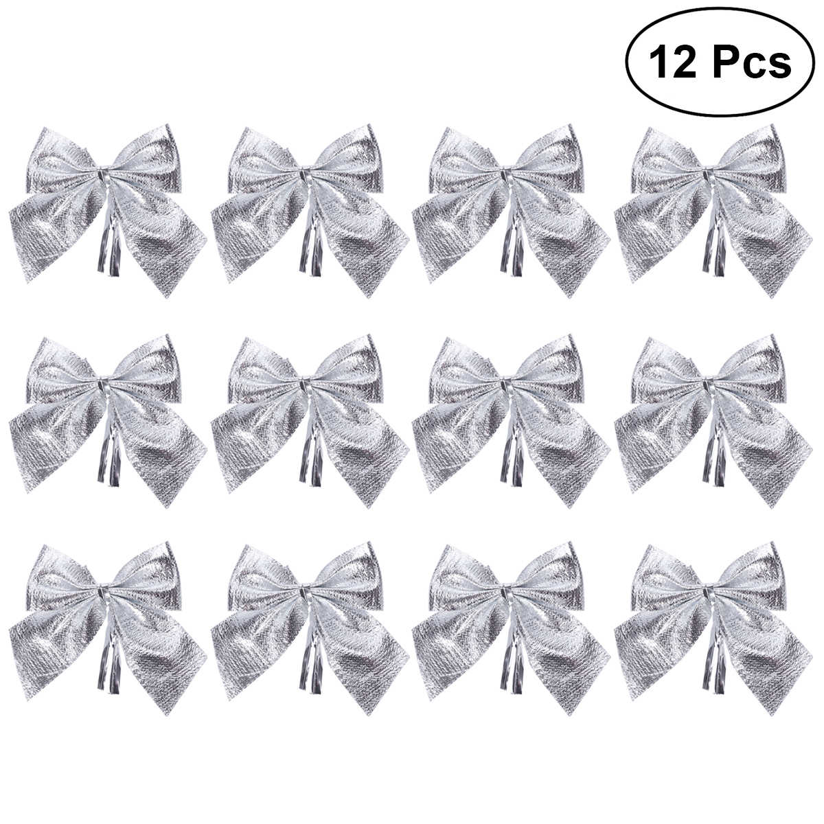 12pcs Glitter Bowknots Christmas Tree Ornaments Pendant Xmas  Hanging Decor Adornments Holiday Home Party Supplies (Silver) A20