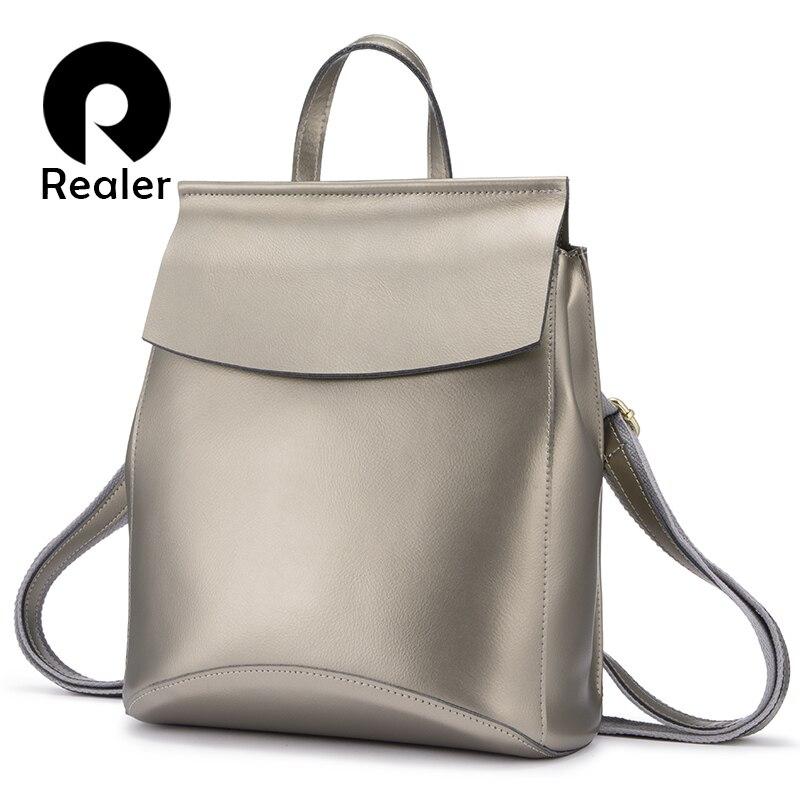 REALER women backpack school bag for women shoulder bag female cow split leather backpack for teenage