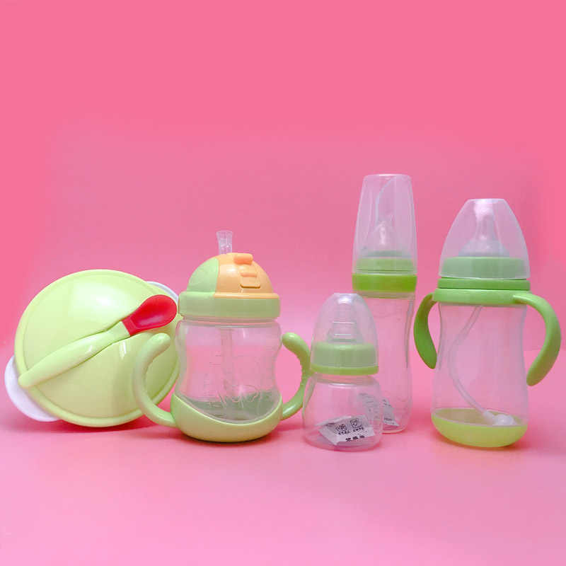 5pcs/set New Baby Newborn Nursing Nipple Bottle Safety Silicone Pacifier Milk Water Bottles Bowl Set Children Infant Feeding Kit
