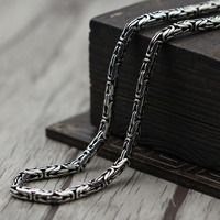 S925 Sterling Silver Necklace personality retro dragon old sweater chain pendant all match silver jewel 4mmry