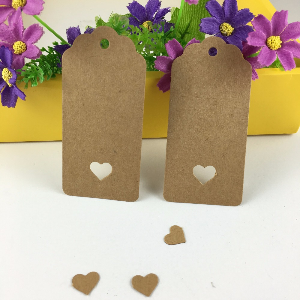 200 pcs 9.5x4.5 cm Hollow Heart Scalloped Kraft Paper Card Wedding Favour Gift Tag /Luggage Tag /Price Label free shipping