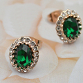 Vintage Oval green Zirconia Crystal Stud Earrings for women Gold Plated fashon jewelry Earrings female wedding Party gift