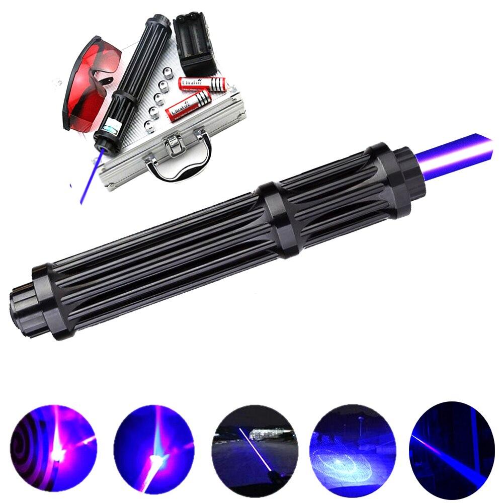 HOT! Rallongent Puissant Haute Puissance Pointeurs laser bleu 450nm Lazer Vue lampe de Poche Brûler Jeu/lumière Brûlant cigares/bougie