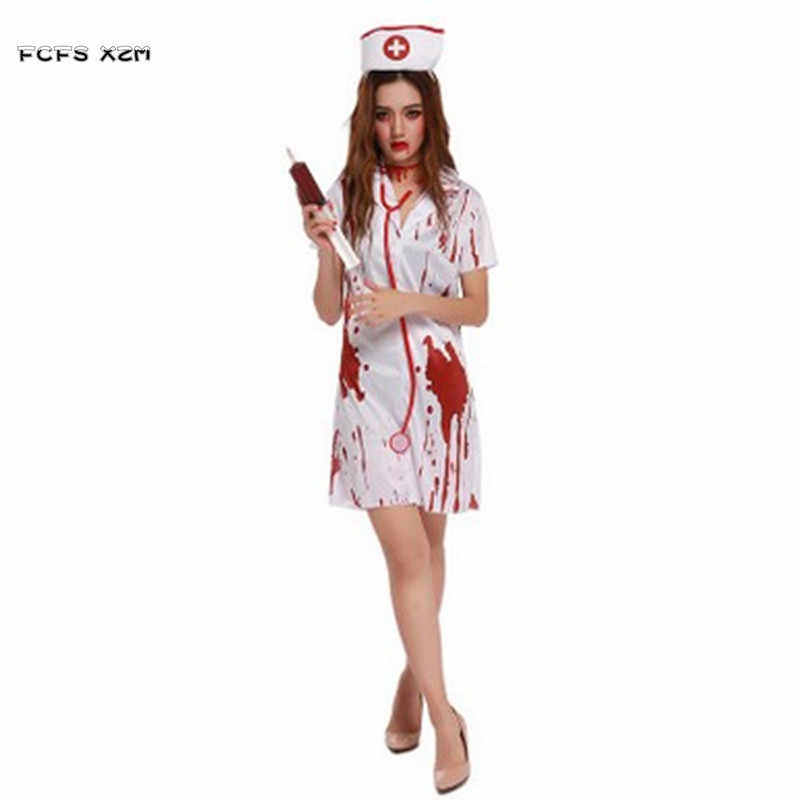 Christmas Zombie Costume.Halloween Costume For Woman Female Horrible Bloody Doctor