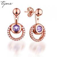 Tyme Multicolored Purple Crystal Earrings For Women Double Circle Cubic Zirconia Earings Fashion Jewelry 2017 Korean