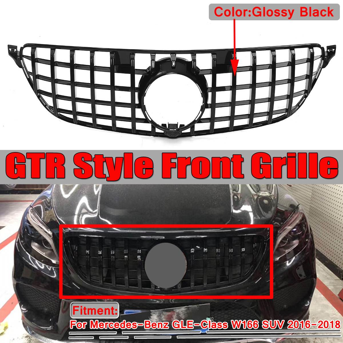 Black / Chrome GTR GT R W166 Grill Car Front Grill Grille For Mercedes For Benz GLE-Class W166 SUV 2016 2017 2018 Racing Grills image