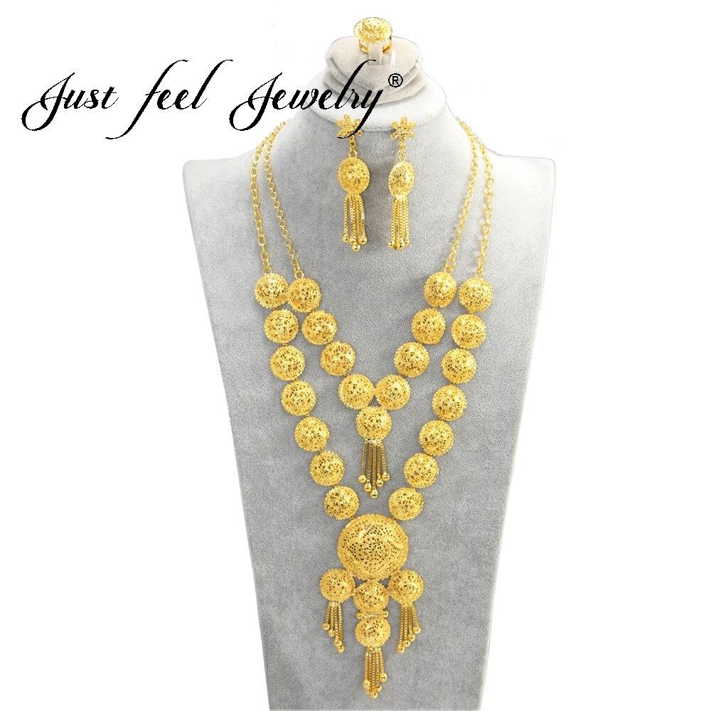 Просто Feel 2018 двойной Ожерелья для мужчин Серьги Золотое кольцо Цвет Эфиопский арабских/Африка/Индия круглый кисточкой Свадебные Наборы сва... ...