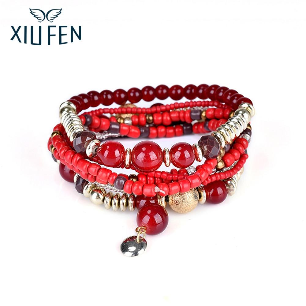 XIUFEN Fashion trend Women Handmade Elastic Beaded Bracelet Bohemia Multilayer Charm Strand Bangles Female Fashion Jewelry ZK25