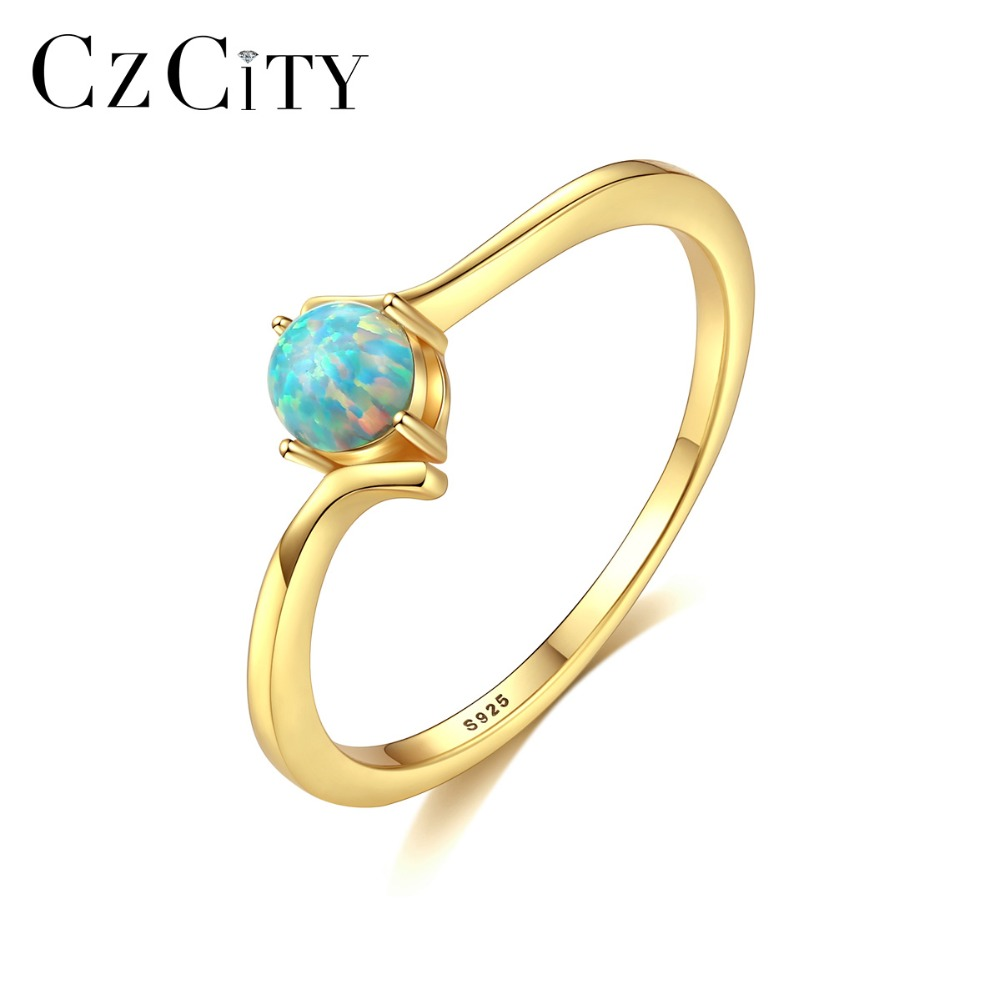 CZCITY Delicate Small Ball Fire Opal Wedding Rings for Women Romantic Colorful Birthstone Rings Silver 925 Jewelry AccessoriesCZCITY Delicate Small Ball Fire Opal Wedding Rings for Women Romantic Colorful Birthstone Rings Silver 925 Jewelry Accessories