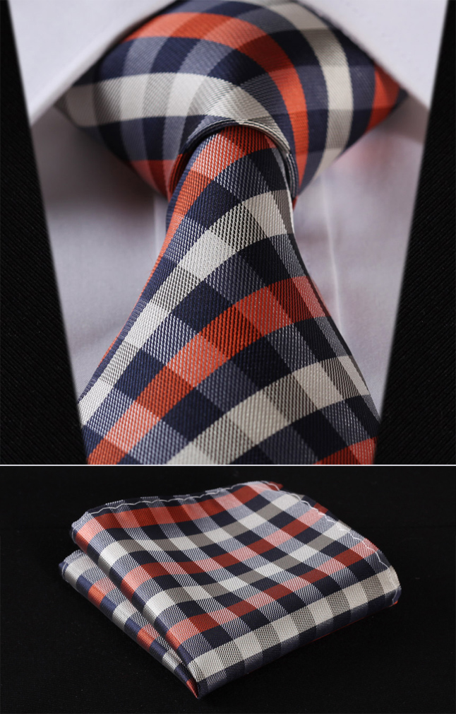 "TC350V8S Navy Blue Orange Check 3.4"" Silk Woven Men Tie Necktie Handkerchief Set"