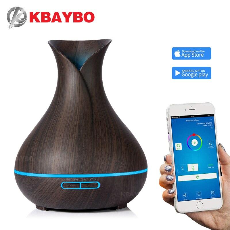 Kbaybo 400 мл Электрический аромат эфирного масла диффузор приложение управления ультразвуковой увлажнитель воздуха темное дерево светодиодн...