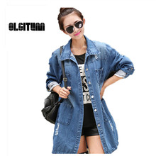Women Coats 2016 Slim Denim Jacket Female Long Sleeve Single Breasted Pockets Casual Jeans Jacket