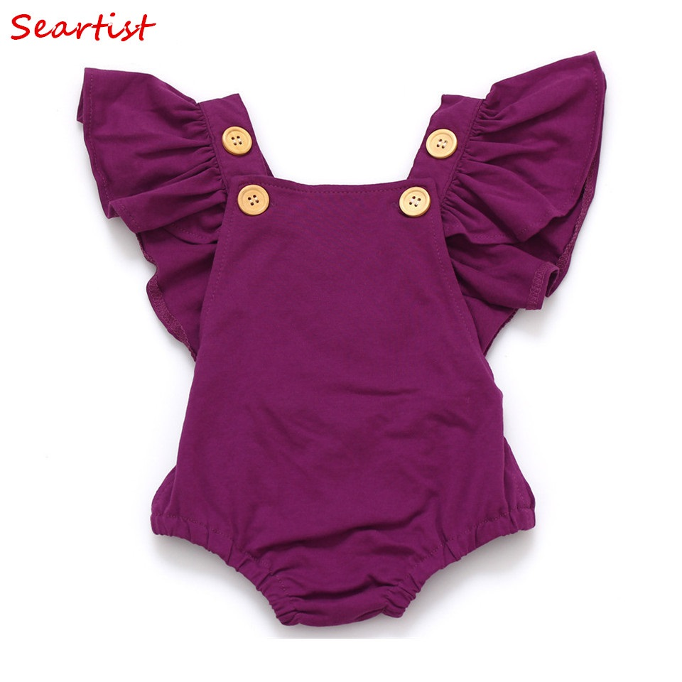 Seartist Baby Girls Romper Nyfödda Spädbarn Kläder Girls Summer Spring Bomull Ruffle Sleeve Romper Toddler Jumpsuit 0-2Yrs C32