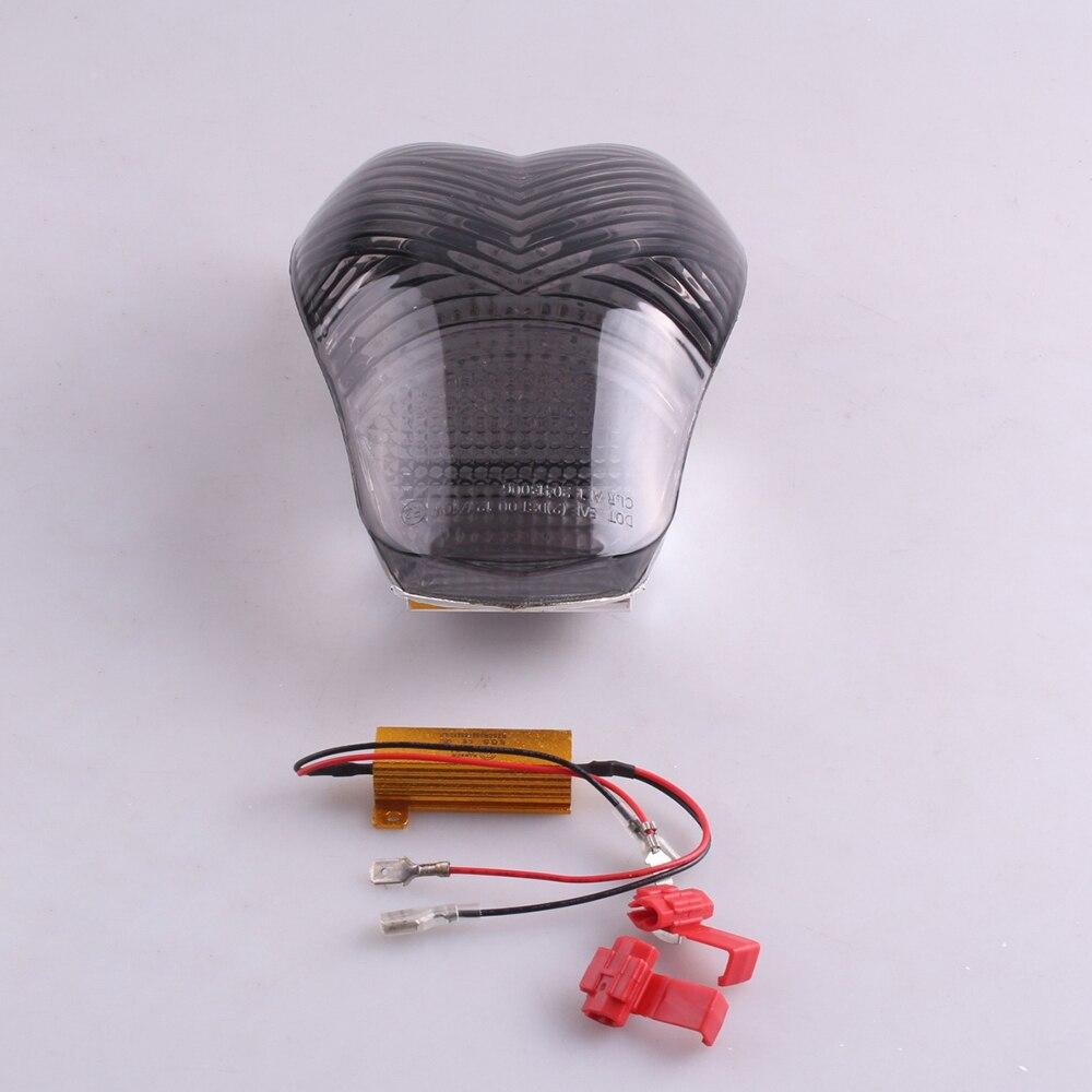 E mark motosiklet LED kuyruk fren işık dönüş sinyali lambası stop lambası entegre BMW K1200S K1200R 2005 2006 2007 2008 duman title=