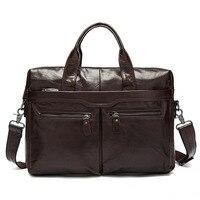 Luxury 100 Guarantee Natural Genuine Leather Bag Vintage Handbag Business 14 Laptop Bag Soft Cowskin Briefcase