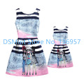 2016 Mother daughter dresses family look matching clothes kids cartoon sleeveless baby girls party dress summer vestidos