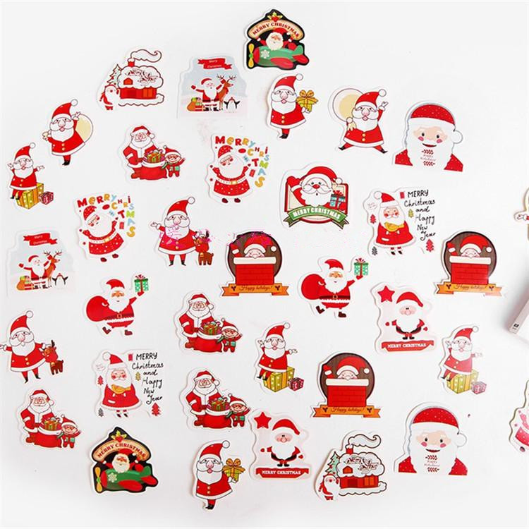 1 Box Merry Christmas Santa Claus Decorative Stickers Scrapbook DIY Diary Album Photo New Year's Stickers For Kids Girls Gift merry christmas snowman pattern decorative stair stickers