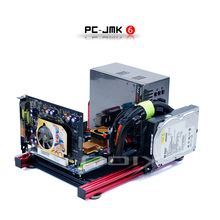 QDIY PC-JMK6 Mini ITX Wide Open Nude Bare Frame Aluminum Chassis Computer Case цена