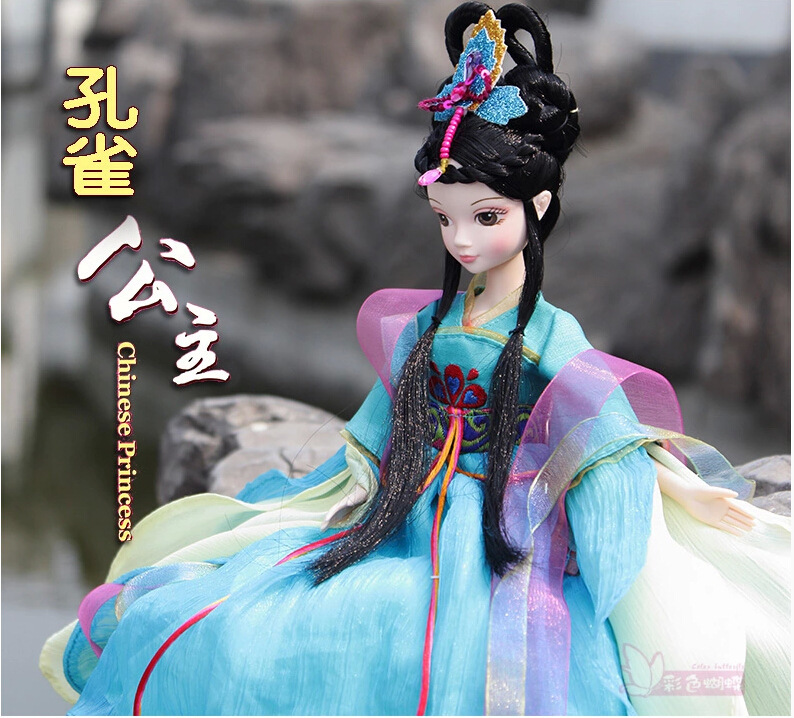 ФОТО Free shipping 2015 newest 29CM Chinese peacock princess costume joint body bobby doll collections With Chinese fairy tale