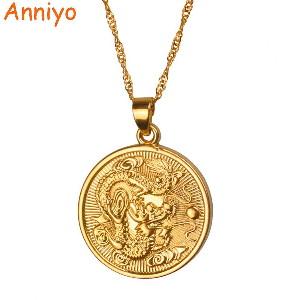 Anniyo de Bon Augure Dragon Pendentif $ Mince Chaîne D'or Couleur Bijoux De Mascotte Ornements Chanceux Cadeaux #005825