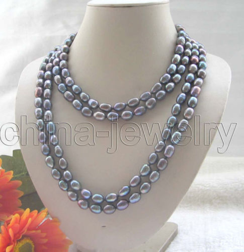 Hot sell Noble hot sell new Beautiful long strand 80 10 11mm black baroque freshwater pearl necklace