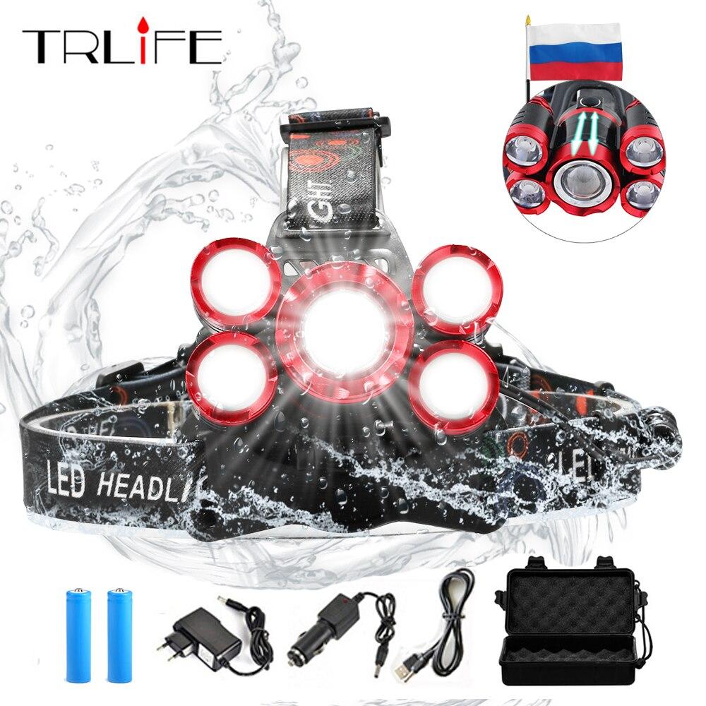40000 Lums Ultra brillante faro 5 * T6 LED faros 4 modo Zoom lámpara de cabeza frente recargable uso ligero 2*18650 batería