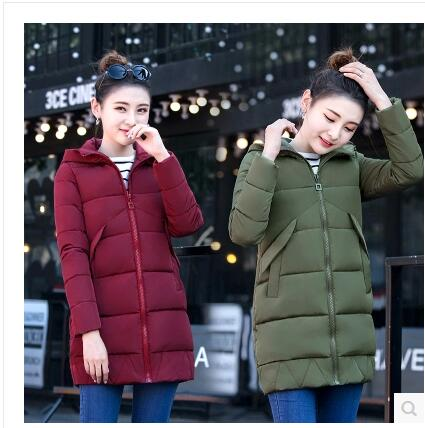 Cotton women in the long section of the Korean version of the 2017 winter new women down jacket thickening warm small cotton jac sky blue cloud removable hat in the long section of cotton clothing 2017 winter new woman