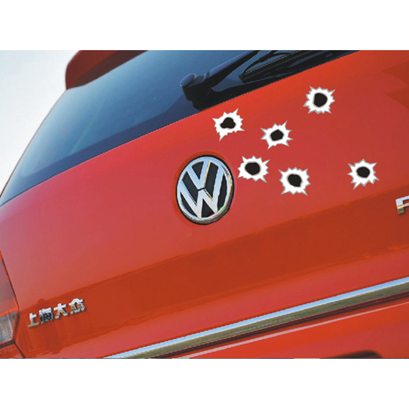 Bullethole Car Sticker car-styling 3D Shoot Hole Pattern Motorcycle Decal Helmet Scratch Funny Sticker For opel vw bmw ford lada sticker