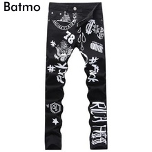 2017 new printed Coloured drawing or pattern Nightclubs Jeans men,Famous Brand Fashion Designer Denim Jeans Men,plus-size 28-36