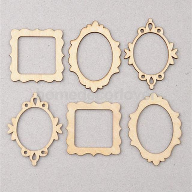 10 packs of 3 unfinished wooden frame craft shapes craft