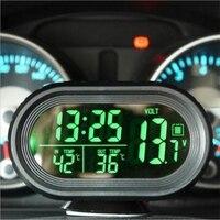 4ed7446e04a2 Car Thermometer Digital Clock DC12 24V Automobile Clock LED Lighted Auto  Dual Temperature Gauge Voltmeter Voltage