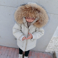 girl boy winter jacket warm coat real natural raccoon fur collar hooded cotton baby bebe children kids parka snowsuit clothes
