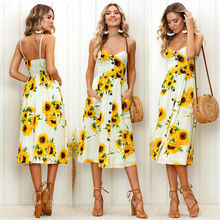 Women Floral Printed Dress 2019 Summer Casual Sleeveless Holiday Beach Maxi Evening Party Femme Vestidos