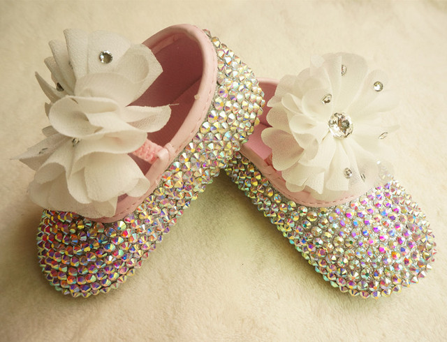Personalized Stunning colorful rhinestone crystal Baby Girl children shoes handmade Bling Diamond first Walker with lace flower