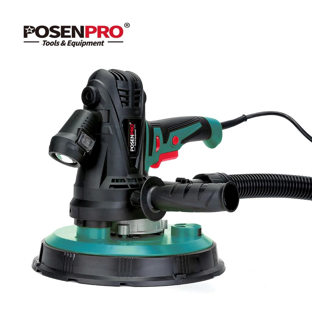 POSENPRO 1240 W 230mm ponceuse à cloison sèche portable à vitesse Variable avec papier de verre, tuyau anti-poussière et sac de collecte, lumière LED sans poussière