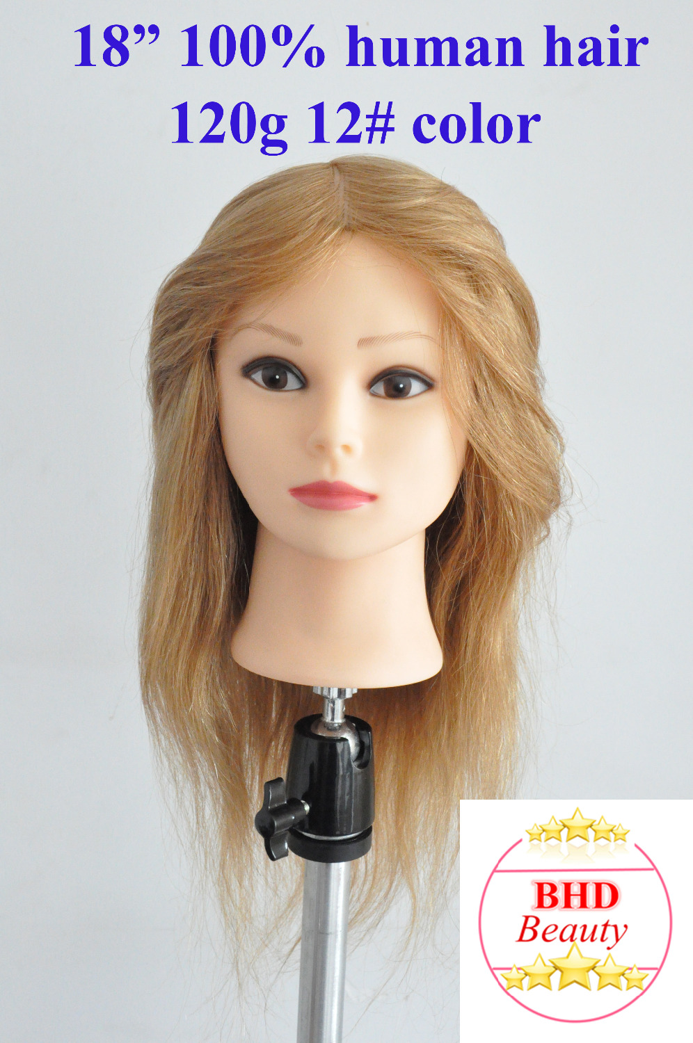 18 100 Human Hair Hairdressing Training Practice Head Mannequin Manikin Head Blonde Color 12