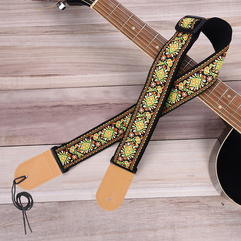 High Quality Acoustic Guitar Adjustable Guitar Belt Woven Cotton Guitar Strap With Leather Ends For Electric Folk Guitar