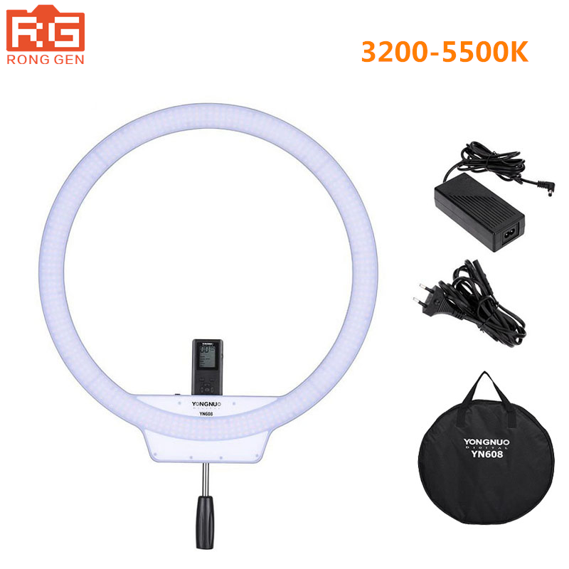 YONGNUO YN608 Studio Ring LED Flexible Video Light 3200 5500k Photographic Light Wireless Remote Control + AC Adapter