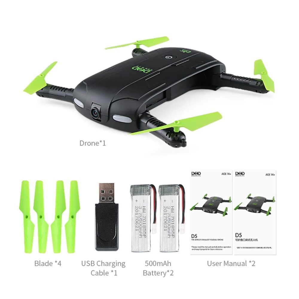 купить DHD D5 Foldable Selfie Drone RC Quadcopter with Wifi FPV Camera Live Video Altitude Hold with 2/3 Batteries Combo Indoor Outdoor недорого