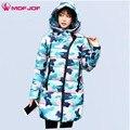 Mofjof chaqueta de invierno las mujeres mediados de estilo largo con capucha oblicua de la cremallera de las mujeres cielo azul camuflaje impreso de down parkas coat