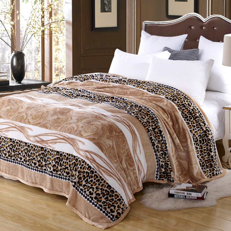 Classic Leopard Floral Stripe Warm Microplush Soft Faux