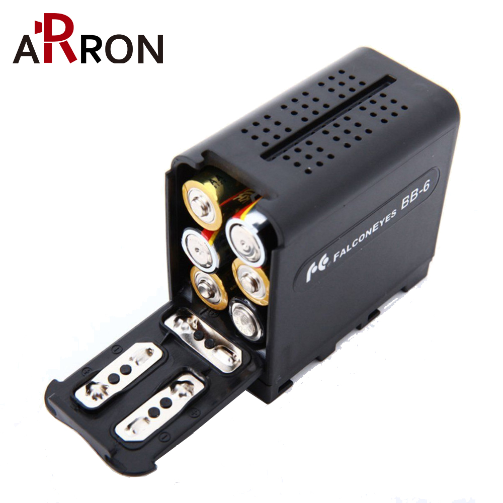 New BB-6 6pcs AA Battery Case Pack Battery Holder Power As NP-F NP-970 Series Battery For LED Video Light Panel / Monitor YN300