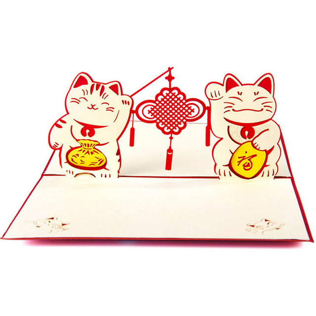 3d pop up greeting cards happy cat new year christmas valentine anniversary postcard gift
