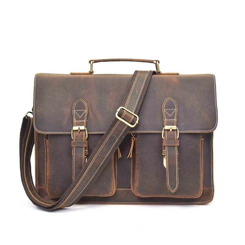 YUPINXUAN Russian Vintage Briefcases for Men Crazy Horse Leather Handbags Large Capacity Office Bags 14 Laptops Hand Bags Retro