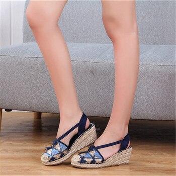 Schuhe Mit Keilpumpen   Neue Mode Frauen Sandalen Casual Leinen Leinwand Keil Sandalen Sommer Ankle Strap Med Ferse Plattform Pumpe Espadrilles Schuhe Große Größe