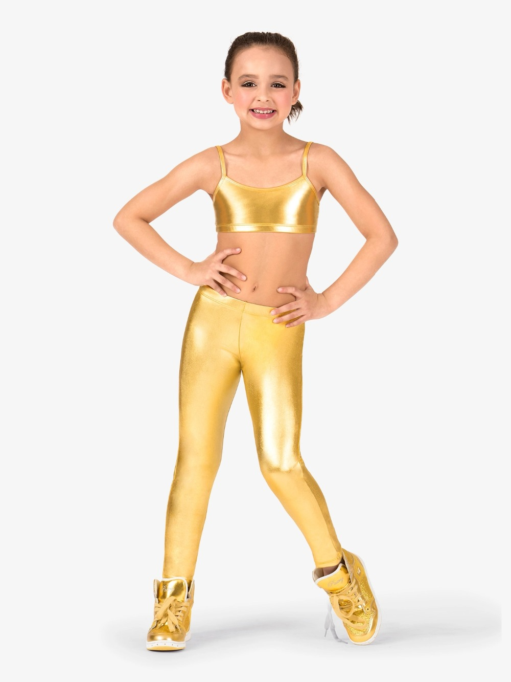 LZCMsoft Girls Shiny Metallic Ankle Dance Leggings Kids Mid Waist Elastic Waistband Wet Look Stage performance Show Pants