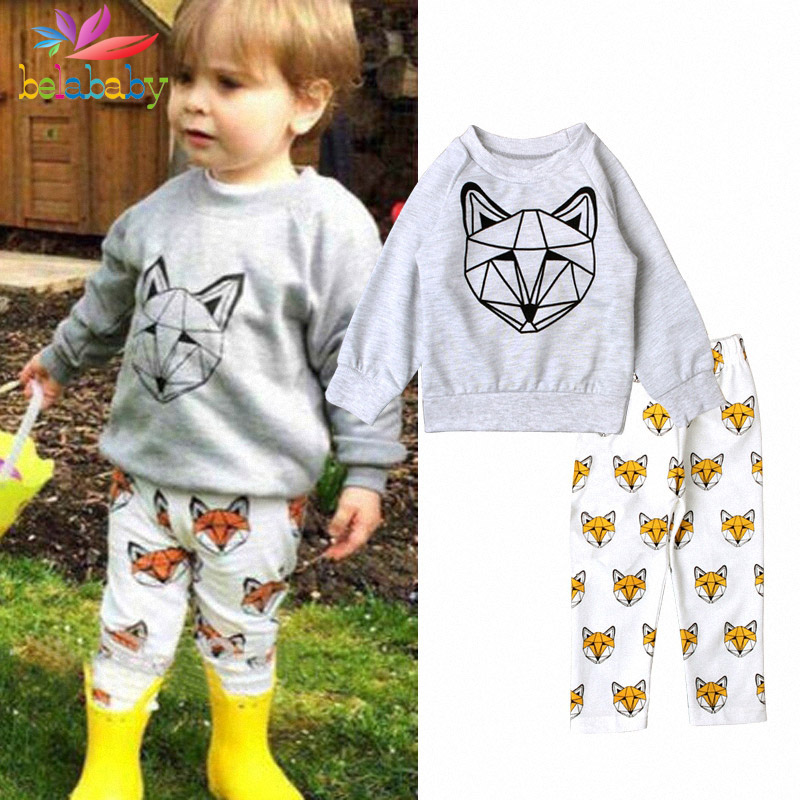 Belababy Baby Boys Autumn Casual Clothing Set Toddler Kids Baby Girls Outfit Clothes fox Kit+Long Pants Trousers 2PCS Set