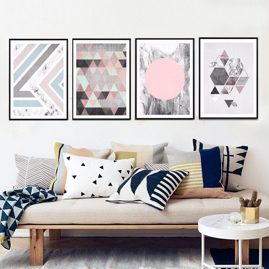 Painting Geometric Pictures Pop Poster Marble Canvas Veins Wall-Art Abstract Home-Decor