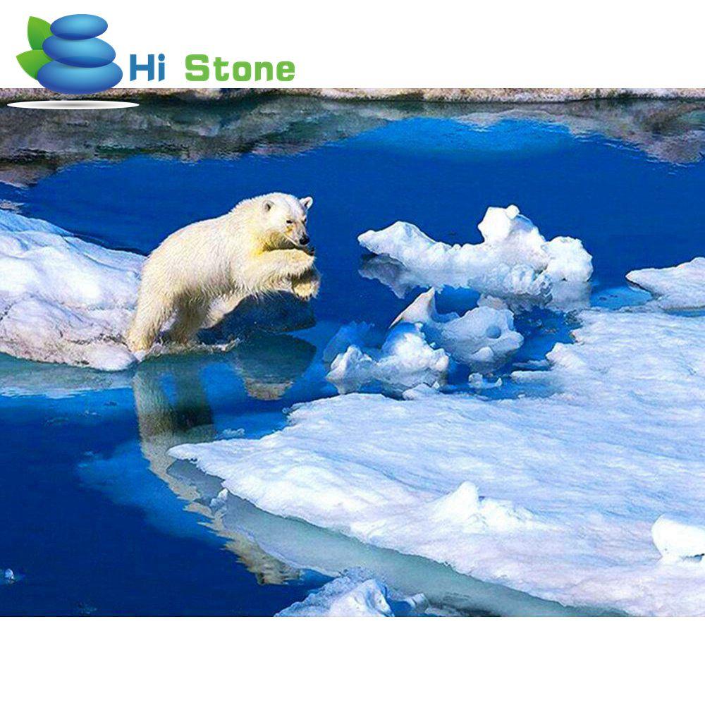 5D DIY алмаз вышивка зима белый медведь алмазов картина вышивки крестом Полный Круглый со стразами мозаичные украшения подарок